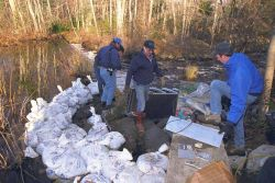 Contractors hired to complete the installation of the Alaskan Steep Pass fish ladder begin work. Photo