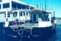 A close-up of the Snug Harbor, one of the vessels that was used to transport quahogs from their original homes to the new spawner sanctuaries. Photo