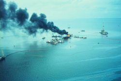 An oil rig blew out spewing crude oil into Timbalier Bay Photo