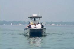 One of the many boats that helped to transfer NOAA volunteers from the staging area to the clean-up sites. Photo