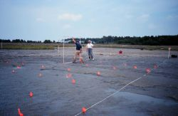 Marking off the planting site, the large square is a quadrant to establish where the plantings should go. Photo