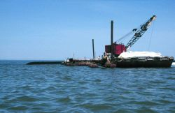 A barge with a crane is filling a geotube, in the background of the image. Photo