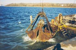 Lowering the reef materials into the water to construct the reefs. Photo