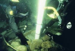 A suction sampling technique is used to determine settlement of lobsters on the reefs. Photo