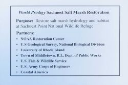 A slide describing the purpose of the restoration at Sachuest Point Salt Marsh and the restoration partners. Image