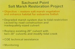 A slide that outlines the objectives of the restoration work at Sachuest Point Salt Marsh. Image