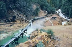 A flume used to collect contaminated drainage at Iron Mountain Mine. Image