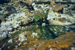 Acid mine drainage, the orange color is from iron precipitate Image