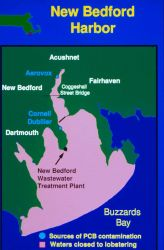 A map of New Bedford Harbor showing sources of PCB contamination. Image