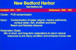 A slide describing the restoration goals at the New Bedford Harbor Superfund site. Image