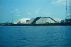 Salt piles on Popes Island, New Bedford Harbor. Photo