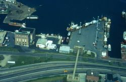 An aerial view of the Commercial Fish Pier in New Bedford Harbor, inner harbor, New Bedford side. Photo