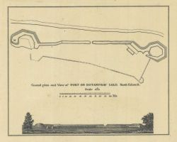Smoother version blowup ground plan and view of Fort on Botany - Bay Island, North Edison River from cgs05212. Photo