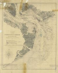 Chart of Charleston Harbor entrance showing position of Union and Confederate batteries as of September 7th, 1863, the day Fort Wagner fell Photo