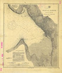 Nautical chart of Seattle Harbor showing growth of Seattle to Lake Union with the annotation on Lake Union,