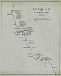 Chart of strandings in fog on the California Coast from 1899 to 1917. Photo
