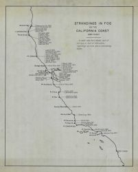 Map showing ship strandings in fog between 1899 and 1917 by Coast and Geodetic Survey. Photo