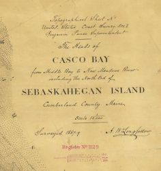 Title block of survey sheet T-1129 Heads of Casco Bay....Sebaskahegan Island Photo