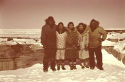 A group of Eskimos at Brownlow Point across from Flaxman Island Photo