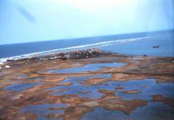 Tigvariak Island base camp from the air Photo