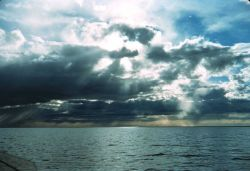 Crepuscular rays illuminating the Beaufort Sea Photo