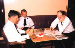 Must be back in Seattle - Sam Baker, William Deane, and Marvin Paulson in officer's lounge of the PATHFINDER Photo