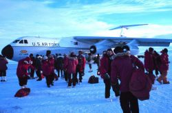 Setting foot on Antarctic soil ( maybe ice would be a better term.) Photo