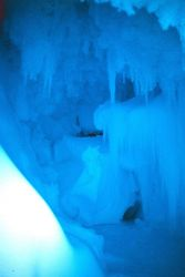 Ice crystals and icicles at the entrance to the cave at Erebus Glacier tongue Photo