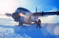 C-130 on the ground at South Pole Station Photo
