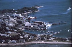 Aerial view of Woods Hole - ALBATROSS IV fisheries research vessel at pier Photo