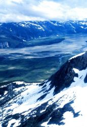 Aerial view of the Taku River on the way to Taku Glacier Lodge Photo