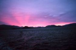 Shadow bands in the pinkish glow of a Southeast Alaska sunset. Photo