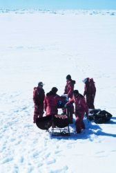 Antarctic beach party and barbecue. Photo