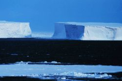Large tabular icebergs grounded in the Ross Sea. Photo