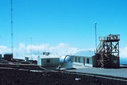 The Mauna Loa Observatory with view of the dome housing Dobson ozone spectrophot ometer and air intake tower for atmospheric constituent measurements. Photo