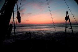 Deck gear and rigging frame the sunset looking over the stern of the NOAA Ship ALBATROSS IV. Photo