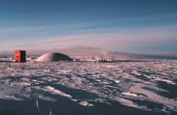 The geodesic dome and skylab as seen from the old Clean Air Facility at South Pole Station. Photo