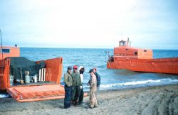 Two LCM's (landing craft medium) used to ferry much of the surveyors' camp to Pitt Point in the late summer. Photo
