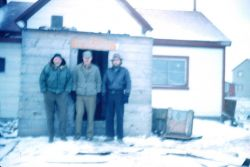Commander Maurice Hecht, Commander Glenn Moore, and Bud Stone at the Barrow headquarters. Photo