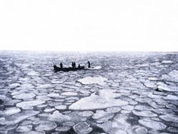 A small boat in the pancake ice Photo
