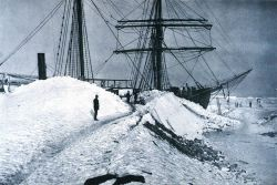 A trail through the ice serving as the gangway to the GAUSS Photo