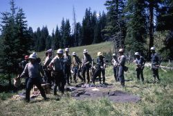 Crew at tool rack in the Buffalo fire camp Photo