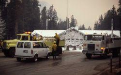 Foam trucks at northeast entrance Photo