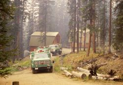 Firefighters protecting residence near Cooke City, Montana Photo