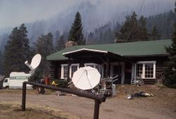 Portable media satellite dishes for news reports in Coke City, Montana Photo