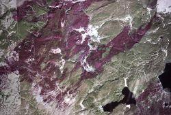 Detailed satellite photo of northwest portion of Yellowstone Park Photo