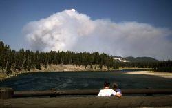 Visitors watching Tern/Raven fire from Fishing Bridge Photo