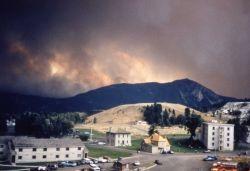 Smoke coming from behind Bunsen Peak, taken from Old Road behind Aspen Dorm Photo