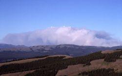 Distant wall of smoke east of Specimen Ridge, taken from Mt Washburn Photo