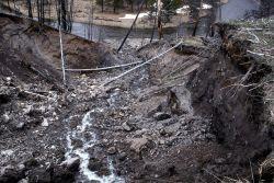 Eroded hillside above Gibbon River - Geology Photo